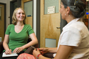 Student Annika Konrad (left) talks with assistant dean of Student Academic Affairs Svetlana Karpe (right) at the University of Wisconsin-Madison on July 16, 2008. ©UW-Madison University Communications 608/262-0067 Photo by: Bryce Richter Date: 07/08 File#: D200 digital camera frame 8031