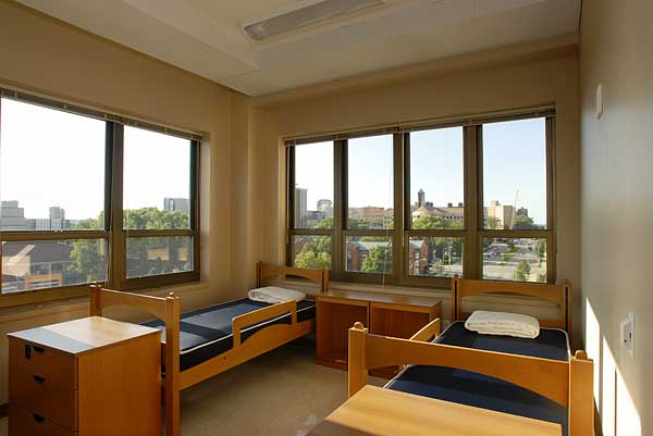 Double rooms in Newell J. Smith Residence Hall feature large windows and nearly 300 square feet of living space, including walk-in closet storage. Photo by: Jeff Miller Date: 08/06 File#: D200 digital camera frame 0593