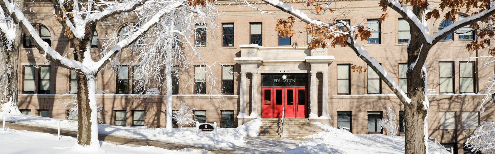 Education Building covered in snow