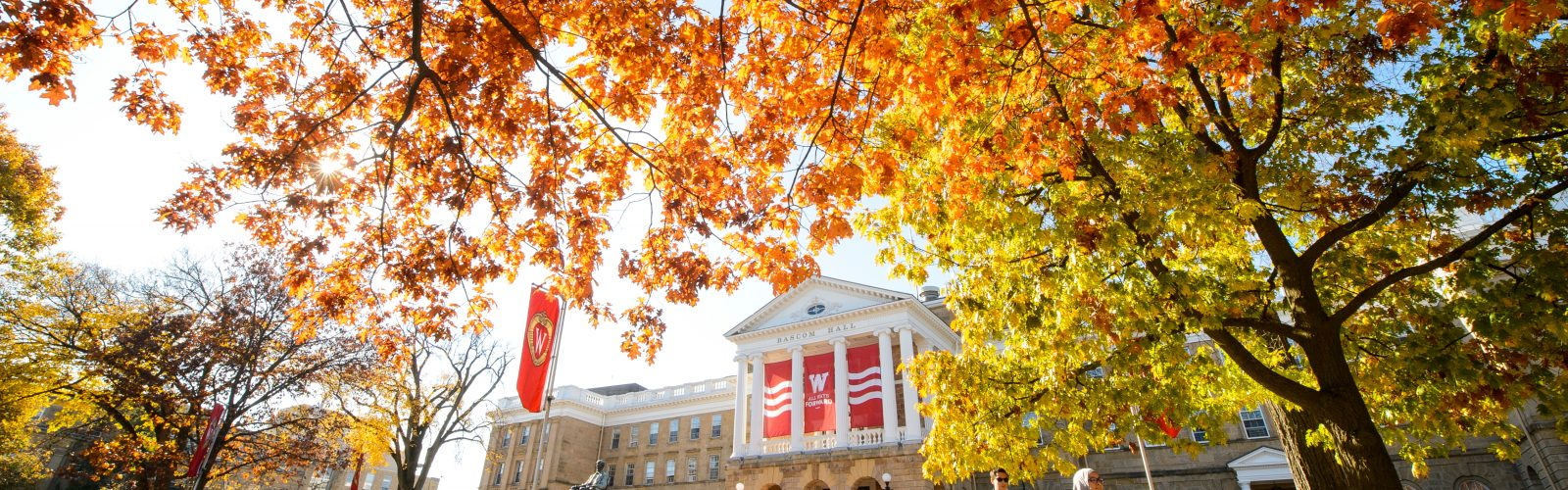 Looking up at Bascom Hall from the hill on a fall day.