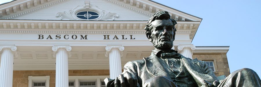 statue of Abraham Lincoln in front of Bascom Hall