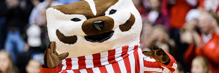 Bucky Badger in front of a crowd